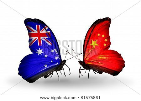 Two Butterflies With Flags On Wings As Symbol Of Relations Australia And China