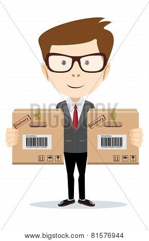 Delivery man isolated on the white background.Vector