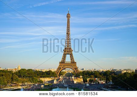 PARIS - SEP 09: Eiffel Tower at Paris downtown on September 09, 2014 in Paris, France. Paris, aka City of Love, is a popular travel destination and a major city in Europe
