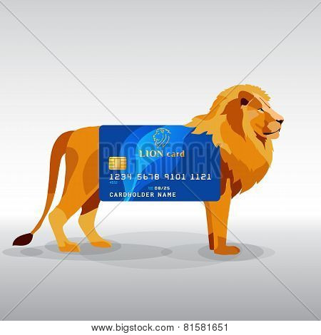 Gredit card hung on king lion