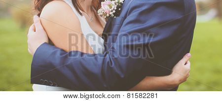 Wedding Abstract Couple Bride And Groom Embracing Outdoors