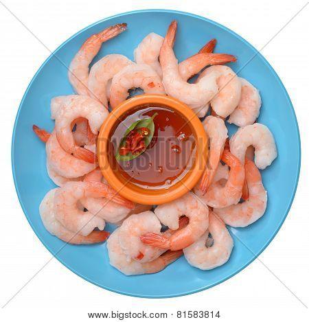 Fresh Boiled Shrimps In Dish