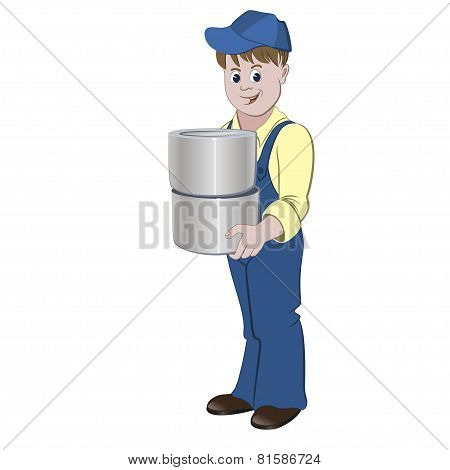 The painter or decorator standing with the pile of buckets with paint or lacquer