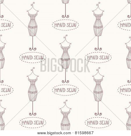 Small Vintage Iron Mannequin Seamless Pattern With Inscription Hand Sewn