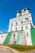 Classical Russian ancient religious architecture example. The Trinity Cathedral located since 1589 in Pskov Krom or Kremlin. Orthodox Church facade poster