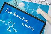 Tablet with the chemical formula of Isoleucine. Amino acids. poster