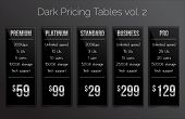 Set of five dark pricing tables - modern sleek design in black, white and silver colors. Price banners are suitable for e-shops, fully editable - EPS10. Font used - Bebas, Paneuropa neue and Raleway. poster