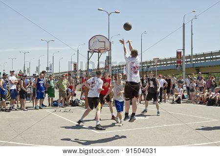 A Throw From An Average Distance On Streetball Playground