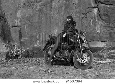 Biker Theme: Beautiful Sexy Woman With Mask Posing With Motorbike, Outdoors