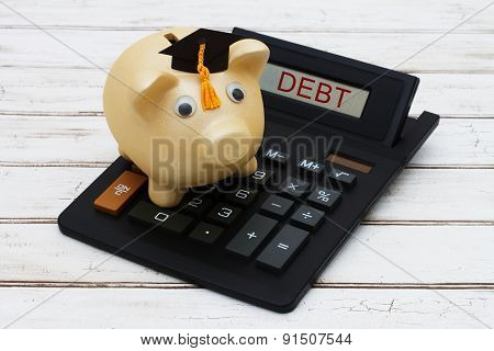 Calculating your student loan debt A golden piggy bank with a grad hat on a calculator with word Debt over a distressed wood background poster