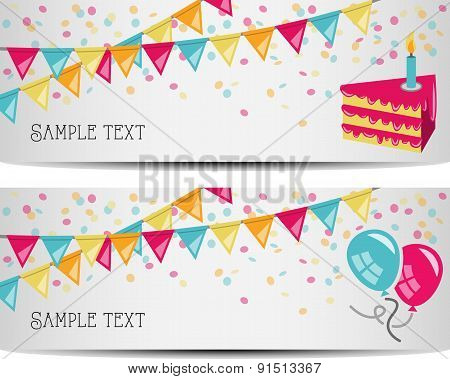 birthday party banner vector illustration