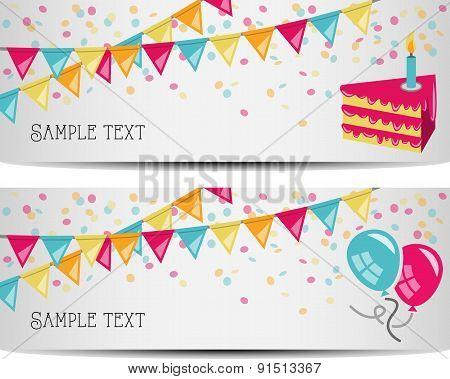 birthday party banner vector illustration