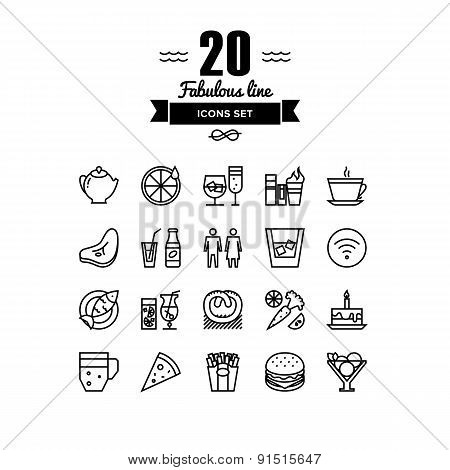 Restaurant Foods And Beverages Line Icons Set
