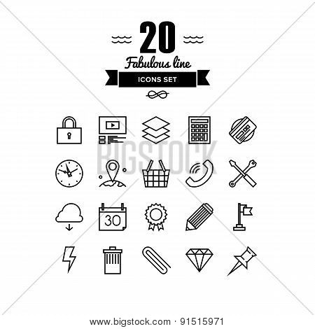 Various Business Elements Line Icons Set