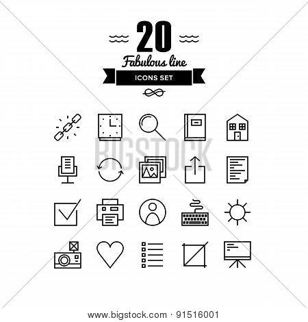 Web Basic Line Icons Set