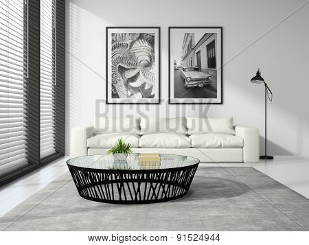 Part of Interior modern design room with white sofa 3D rendering