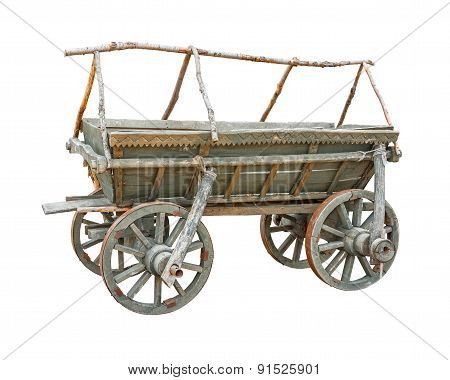 Old wooden cart cutout