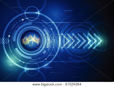 Illustration Abstract Futuristic, Wavelength Digital In Eyeball With Arrow Symbol