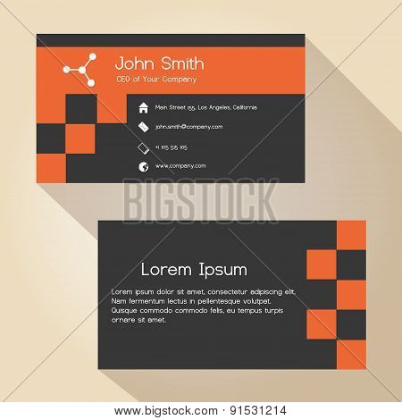 Dark Gray And Red Simple Business Card Design Eps10