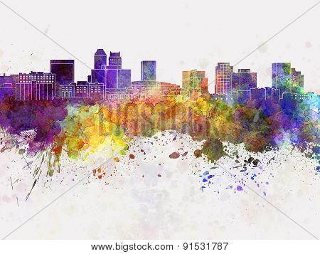 Newark Skyline In Watercolor Background