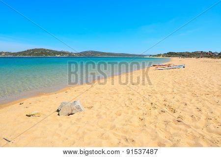 Windsurf Board On A Golden Shore
