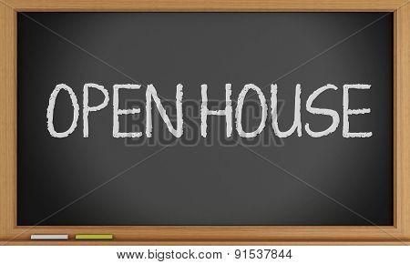 3D Open House Written On Blackboard.