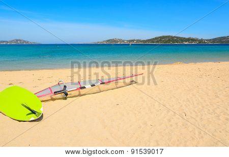 Windsurf Board On The Sand In Porto Pollo