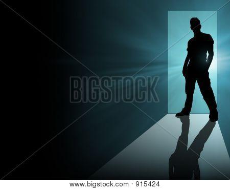 Man In Doorway Blue