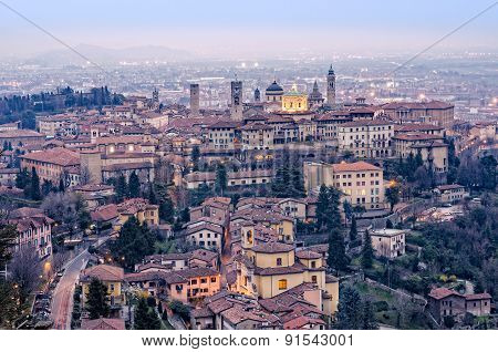 Scenic View Of Bergamo Old Town Cityscape Fter Sunset, Italy, Europe