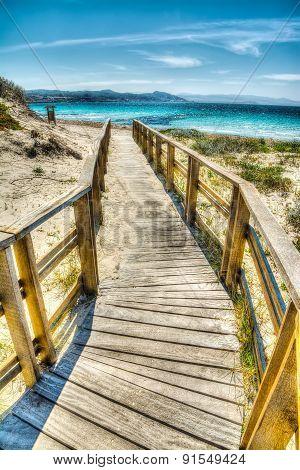 Wooden Boardwalk In Sardinia