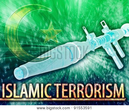 Abstract background digital collage concept illustration Islamic terrorism extremism
