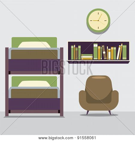 Empty Bunk Bed With Armchair And Bookcase.