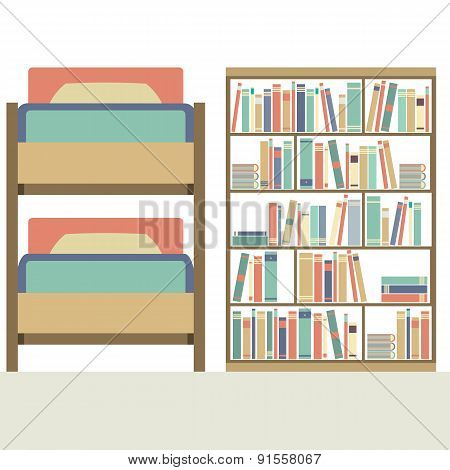 Flat Design  Bunk Bed With Big Bookcase.