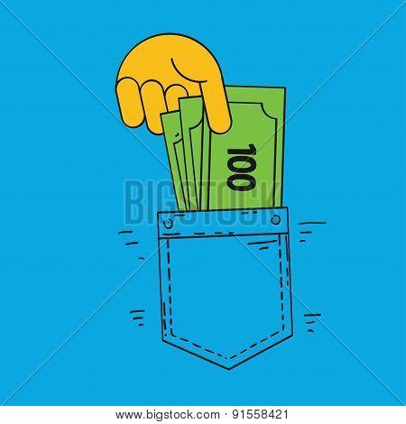 hand poket and money