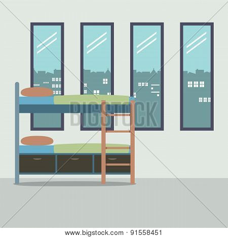 Side View Of Bunk Bed With Four Glass Windows.