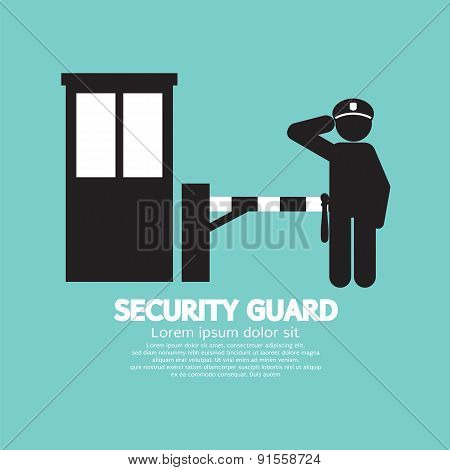 Security Guard With Closed Barrier Gate.