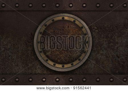 Submarine armoured porthole metal background