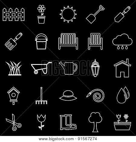 Gardening Line Icons On Black Background