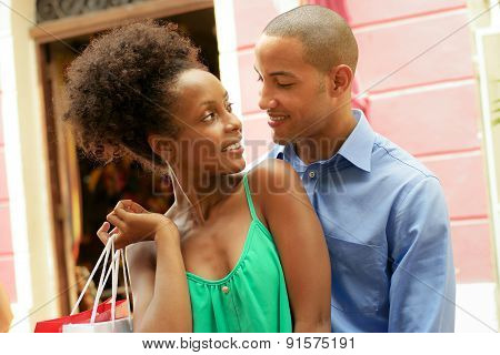 Portrait African American Couple Shopping In Panama City