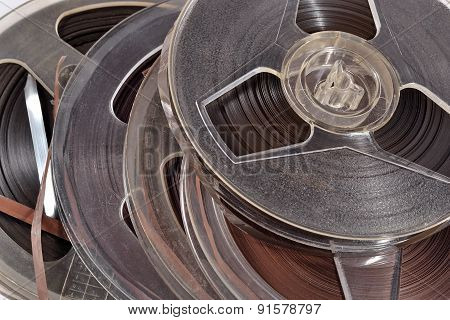 Old Vintage Bobbins With Magnetic Tapes