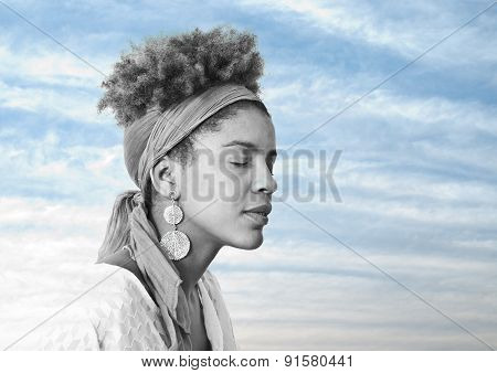 Young Afro Beautiful Woman With Closed Eyes - Double Exposure