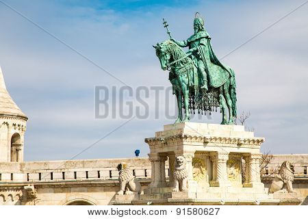 Horse riding statue, Stephen I of Hungary, Fishermen's Bastion, Budapest