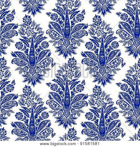 seamless indigo oriental paisley pattern