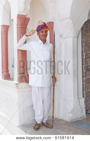 Indian Welcome From An  Doorman Dressed In Typical Indian Clothes