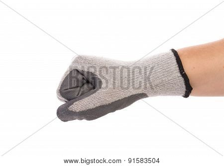 Worker hand in glove clenching fist. Isolated on a white background. poster