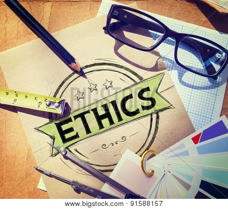 Ethics Integrity Fairness Ideals Behavior Values Concept poster