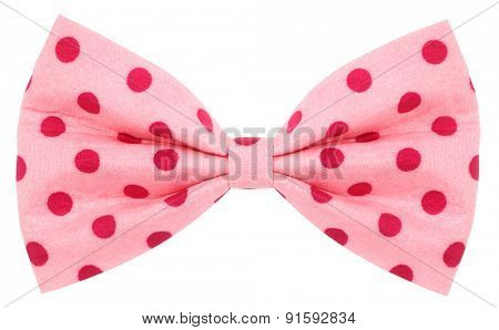 Hair bow tie pink with red dots