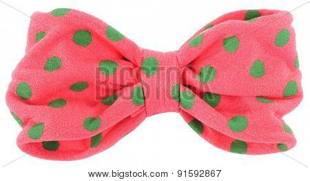Hair bow tie pink with green dots