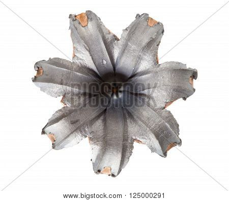 Hollow point bullet that has hit a target and expanded isolated on white