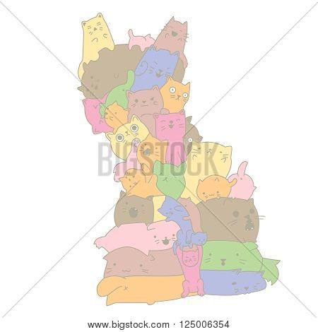 many cats of different colors came together and created the figure of a huge cat